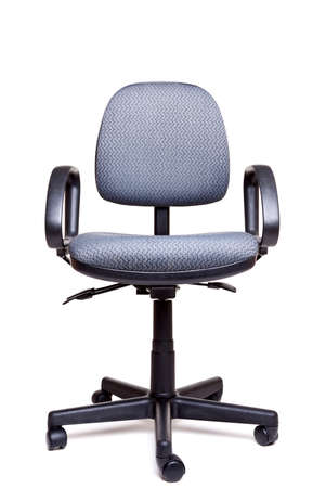 swivel: Photo of an adjustable office swivel chair front facing isolated on a white background with natural shadow. Stock Photo
