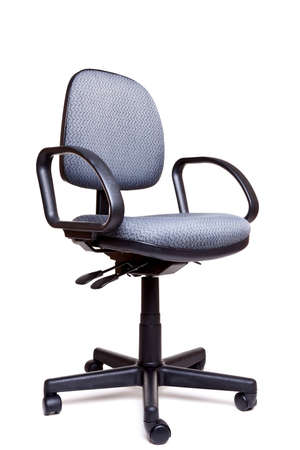 front facing: Photo of an adjustable office swivel chair front facing isolated on a white background with natural shadow. Stock Photo