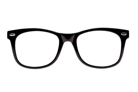 spectacle: Photo of Black spectacle frames the type of glasses nerds wear, isolated on white
