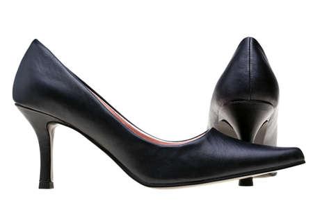 fraue: Foto von Damen schwarz high heel Schuhe, isoliert auf weißem Hintergrund.