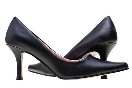 tacones negros: Fotos de se�oras negro de alta tal�n de zapatos, aislados en un fondo blanco.  Foto de archivo