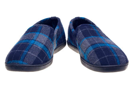 Photo of blue tartan slippers isolated on a white background.