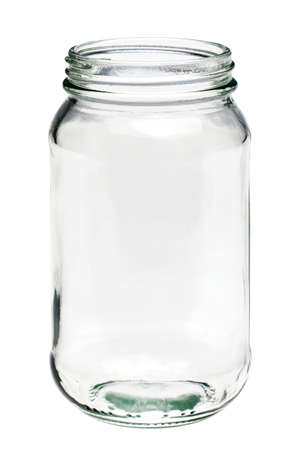 Photo of an Empty glass jar isolated on a white background