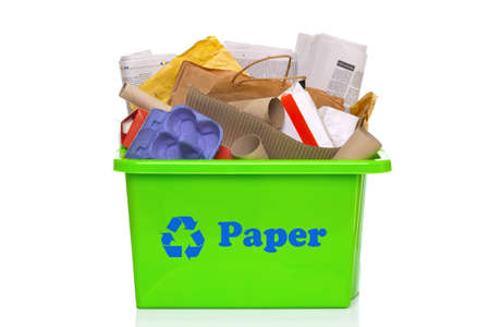 recycle paper: Photo of a green paper recycling bin isolated on a white background.