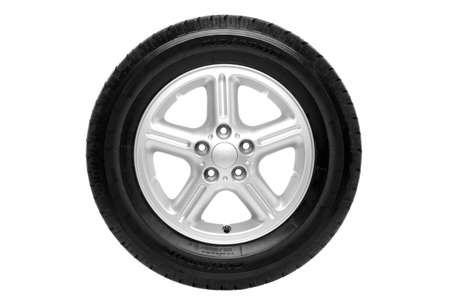 car tyre: Photo of a car tyre (tire) on a five spoke alloy wheel isolated on a white background Stock Photo