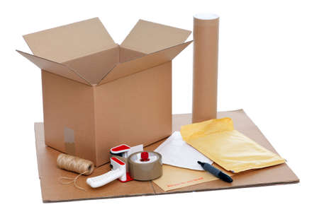 packing boxes: Photo of packaging items isolated on a white background. Stock Photo