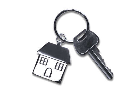 keyring: Keys to a new house isolated on white  Stock Photo