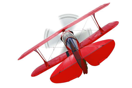 A red biplane, rear view with propeller in motion, isolated on a white background. Stock Photo