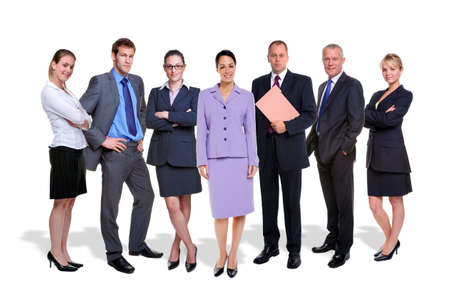 seven persons: a seven person business team isolated on a white background with shadows.