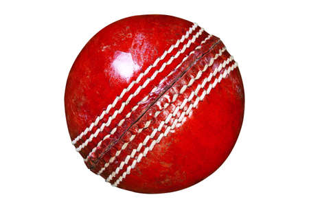 ball pen: Photo of a red leather cricket ball isolated on white background with clipping path done using pen tool.