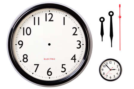 1 object: Photo of a blank electric clock face with arabic numerals plus hour, minute and second hands to make your own time, centre dot for hand placement and Ive also included a small version of the original for guidance. Clipping path included for clock. Stock Photo