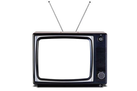 Photo of an old retro black and white tv set, blank screen,isolated on a white background with slight shadow,  photo