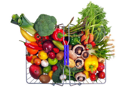veg: Photo of a wire shopping basket full of fresh fruit and vegetables, shot from above and isolated on a white background.