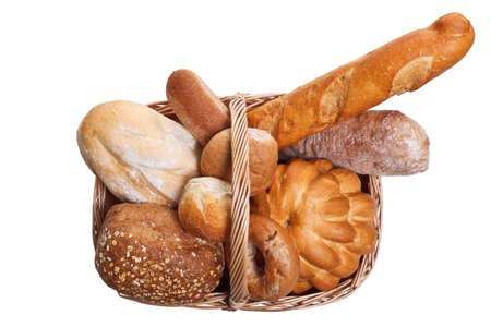 Photo of vaus types of bread in a wicker bascket isolated on a white background. Stock Photo - 8732057