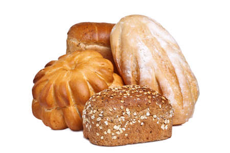 Photo of various types of bread isolated on a white background. photo