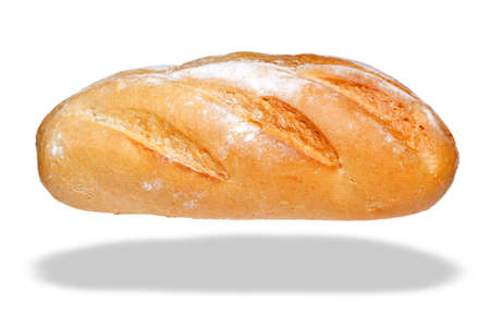 bloomer: Photo of a white bloomer loaf of bread, isolated on a white background with floating shadow.