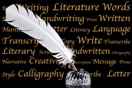 feather pen: A white feather quill pen and crystal glass ink well on a black background with words associated with literature and writing.
