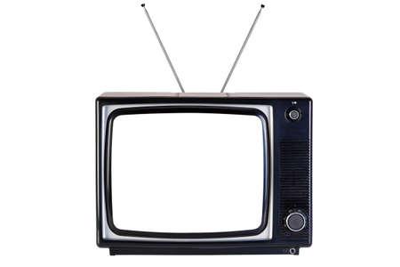 television antigua: Foto de un viejo retro y negro televisor, aislado en un fondo blanco, con trazados para la televisi�n y la pantalla de recorte.