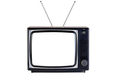 tv retro: Photo of an old retro black and white tv set, isolated on a white background, with Clipping paths for television and the screen.