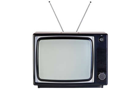 Photo of an old retro black and white tv set, isolated on a white background, with Clipping paths for television and the screen. Stock Photo - 8855458