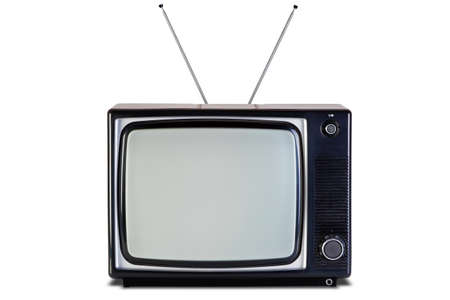 Photo of an old retro black and white tv set, isolated on a white background, with Clipping paths for television and the screen. photo