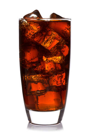 chilled out: Photo of fizzy Cola in a glass with ice cubes, isolated on a white background.