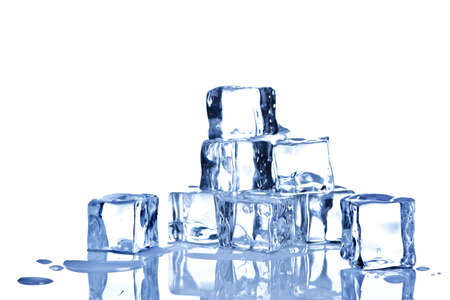 Photo of ice cubes isolated on a white background. Stock Photo