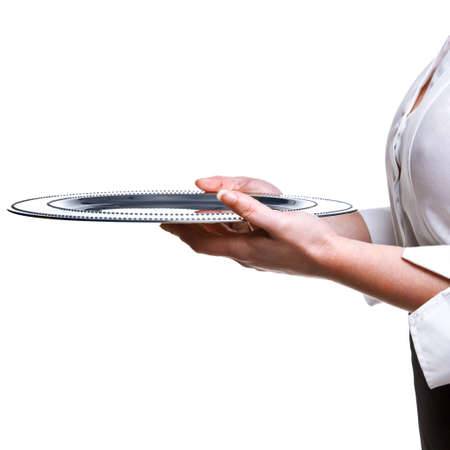 silver tray: a waitress holding a silver tray, isolated on white. Good image for product placement.