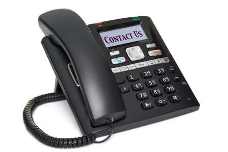 an office telephone, LCD screen with the words Contact Us, isolated on a white background. Stock Photo - 8943983