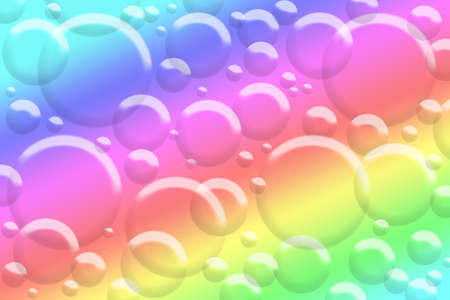 Illustration of bubbles on a colorful rainbow spectrum background. illustration