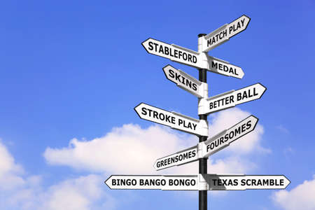terminology: Concept image of a signpost with types of golf competition on the arrows.