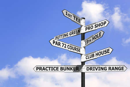 terminology: Concept image of a signpost with golf course information on the arrows.