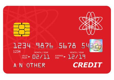 tarjeta de credito: Todo en este simulacro de tarjeta de cr�dito, incluyendo el holograma ha sido dise�ado por m� mismo, el n�mero y nombre es gen�rico. Foto de archivo