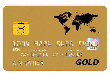 debit card: Everything on this mock gold card including the hologram has been designed by myself, the number and name is generic. Stock Photo