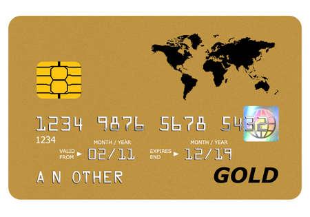 carta credito: Tutto su questa carta oro finto tra l'ologramma � stato progettato da me, il numero e il nome � generico. Archivio Fotografico