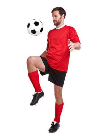 football boots: footballer or soccer player cut out on a white background,.
