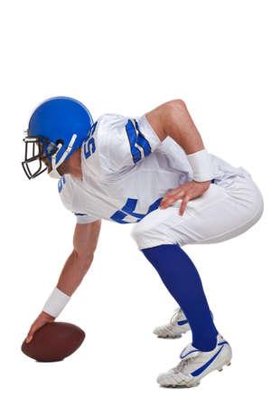jugadores de futbol: Jugador de f�tbol americano, recortar sobre un fondo blanco. Foto de archivo