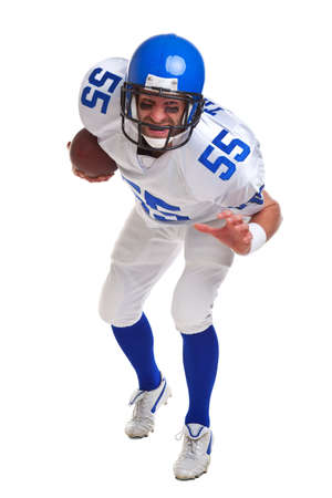 an American football player, cut out on a white background. photo