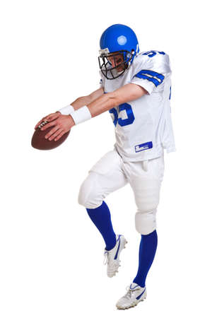 kickoff: American football player, cut out on a white background.
