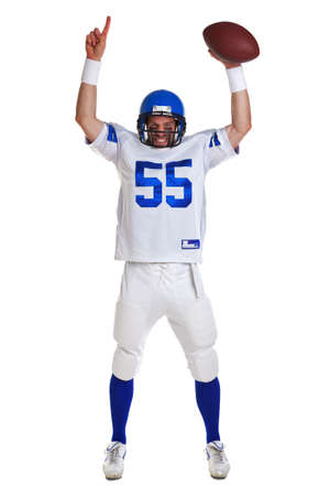 touchdown: American football player, cut out on a white background.