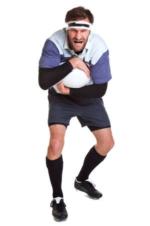 a rugby player cut out on a white background. photo