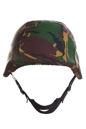 a camouflage helmet cut out on a white background. Stock Photo - 9512389
