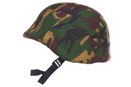 pokrývka hlavy: a camouflage helmet cut out on a white background.