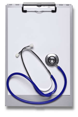 a metal hospital clipboard and stethoscope with blank paper to add your own notes Stock Photo - 9512410