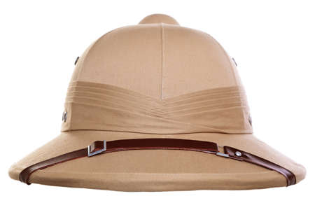pith: Photo of a pith helmet cut out on a white background