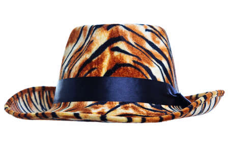 pimp: Photo of a tiger skin hat cut out on a white background, add your own pimp! Stock Photo