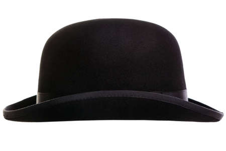 bowler hat: Photo of a bowler hat or derby cut out on a white background Stock Photo
