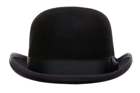 headgear: Photo of a bowler hat or derby cut out on a white background Stock Photo