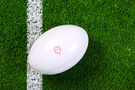 touchline: a rugby ball on a grass next to the white line, shot from above.