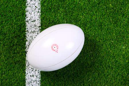 and rugby ball: una pelota de rugby en un c�sped junto a la l�nea blanca, dispar� desde arriba. Foto de archivo
